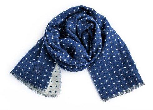 niebieski dwustronny szal wełniano-bawełniany