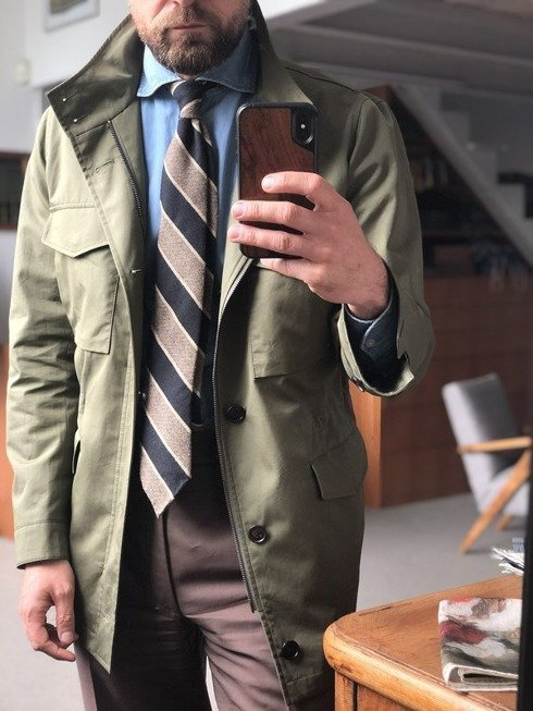 BEIGE Raw silk tie