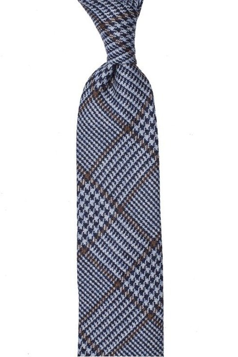 BLUE-BROWN WOOL UNTIPPED HANDROLLED TIE
