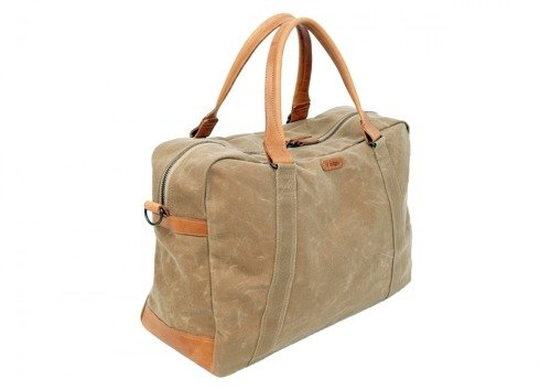 Beige waxed cotton weekender