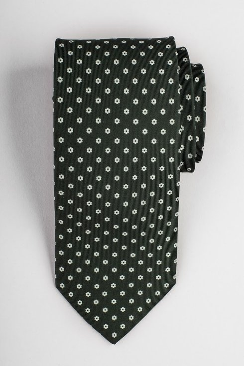 Bottle green printed three fold silk tie