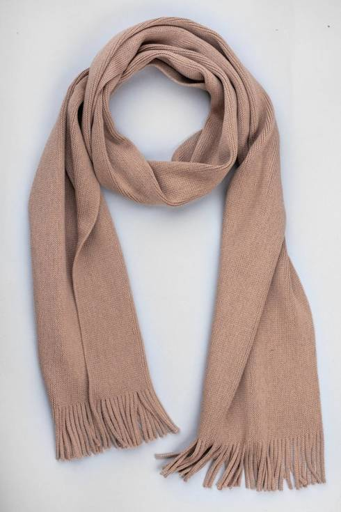Camel colored wool knitted scarf