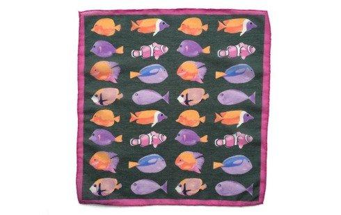 Cotton-Silk Pocket Square Fishes