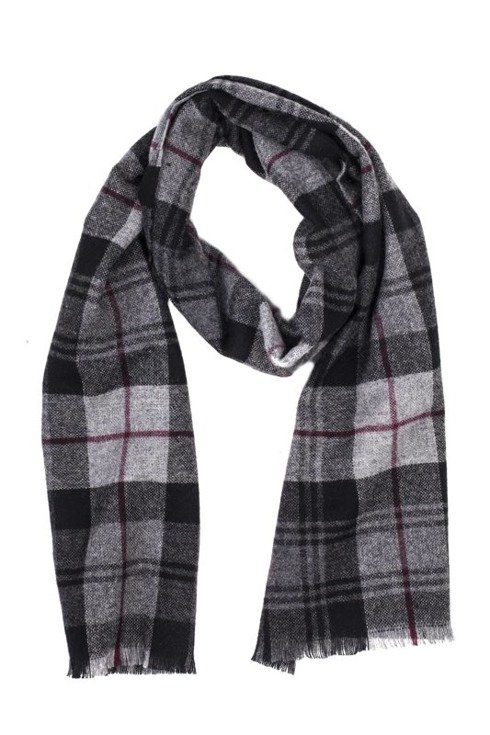 GREY checked cashmere scarf