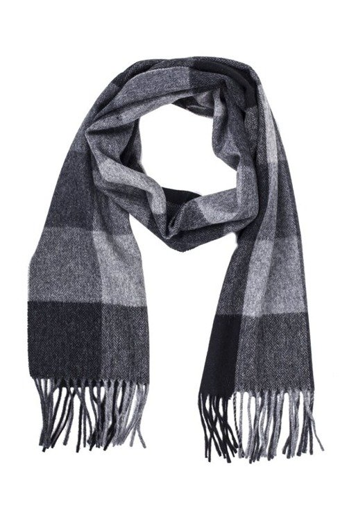 Gray & black scarf with cashmere