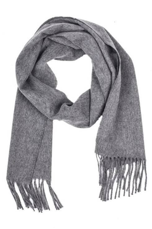 Grey cashmere checked scarf