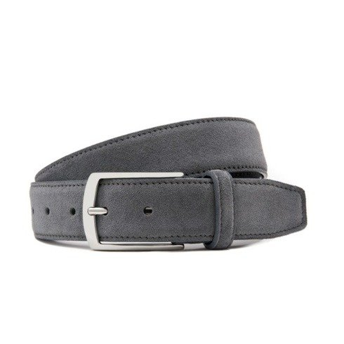Grey suede leather belt