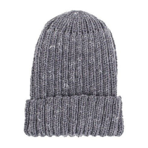 Hand-knit gray yarn beanie