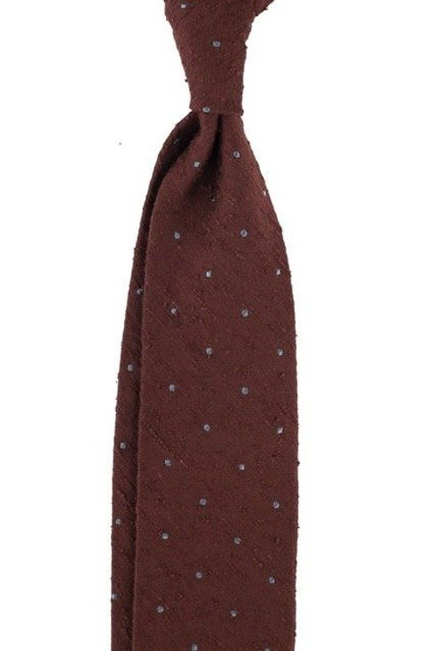 LIGHT BROWN SHANTUNG TIE WITH DOTS