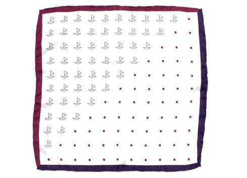 Marine silk pocket square