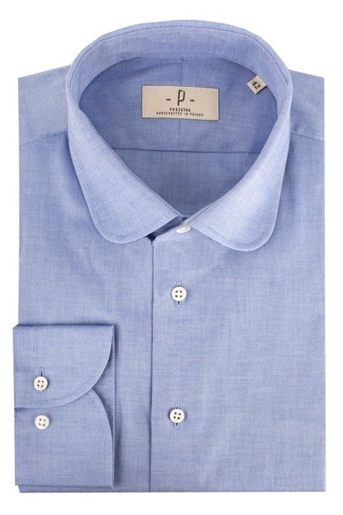 Oxford blue shirt with round collar