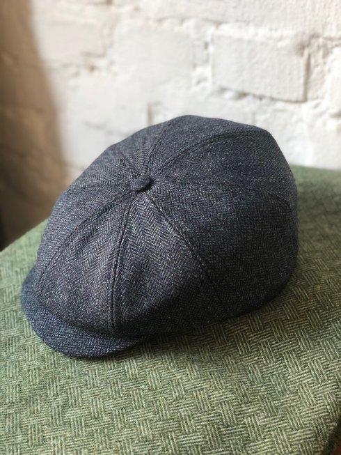 PALE BLUE HERRINGBONE DRIVER'S CAP LOVAT TWEED