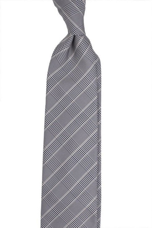 PRINCE OF WALES TIE - grey, navy, with a golden accent