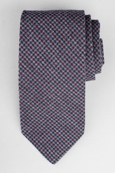 Pepita grey & burgundy woolen tie