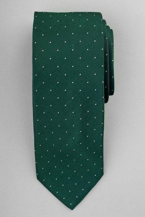 Silk jacquard polka dots green tie