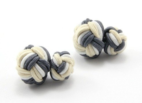 Silk knots beige, grey and white