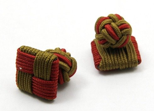Silk knots olive and brown