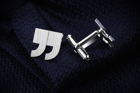Silver Cuff Links Quotation mark