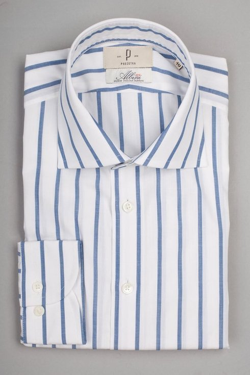 Stripped semi spread collar shirt Albini