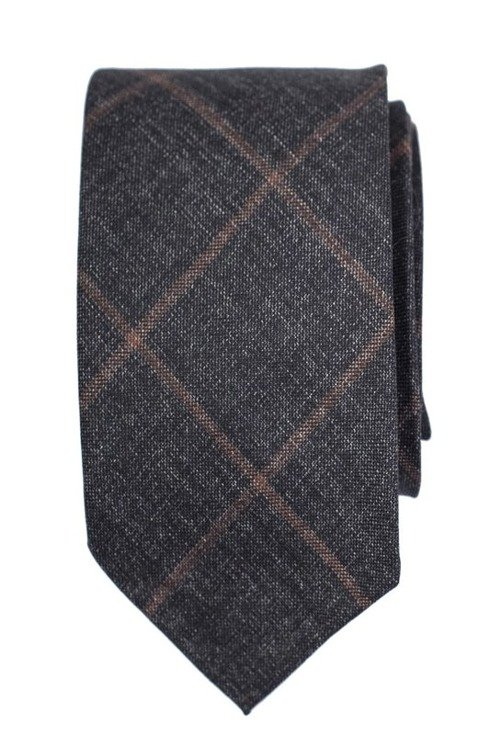 UNTIPPED WOOL TIE, GRAPHITE-BROWN