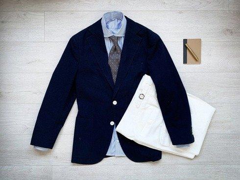 Ultralight seersucker 'Portofino' suit, pearl buttons