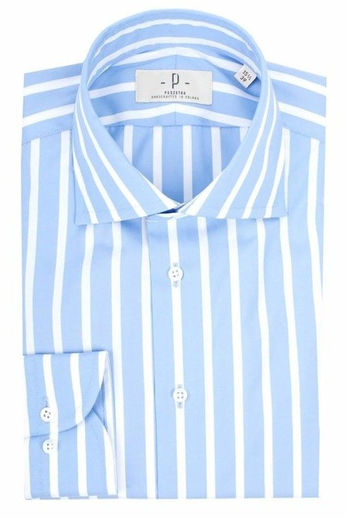 White & sky blue wide bengal shirt with semi-spread collar