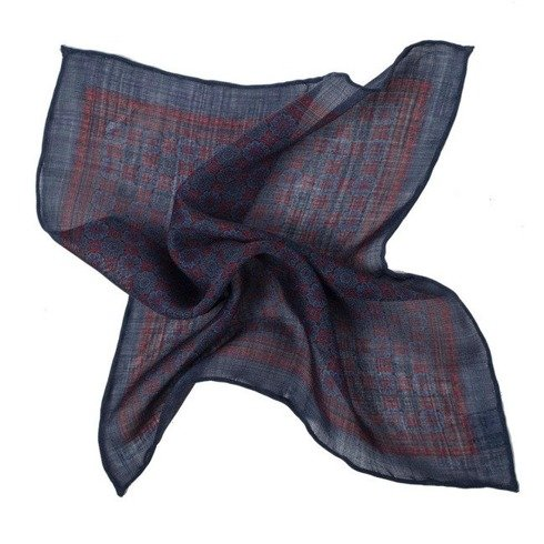 blue navy medallion pocket square