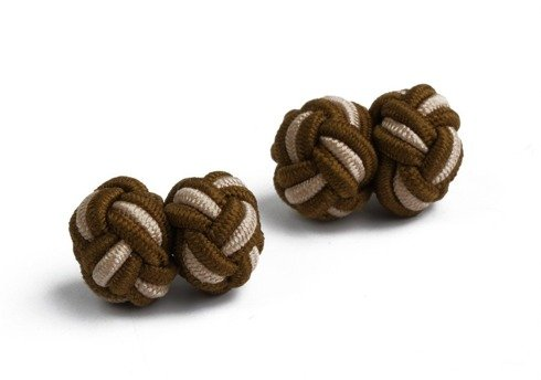 brown and beige silk knots