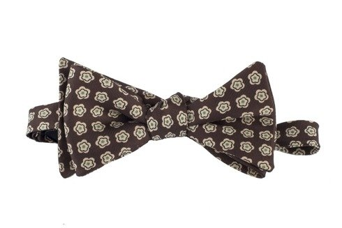 brown floral Macclesfield bow tie