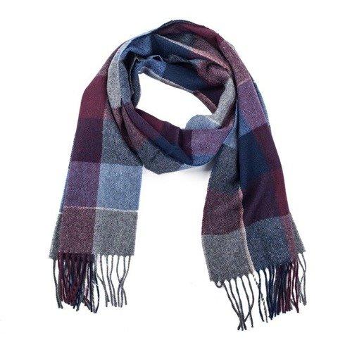 burgundy & navy checked woolen scarf
