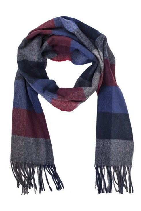 burgundy & navy checkered woolen scarf