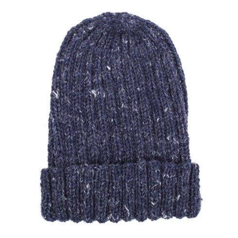 hand kniting blue tweed beanie