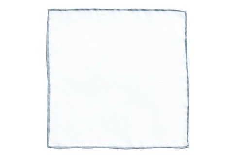 linen pocket square with grey border