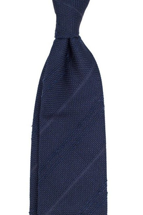navy Grenadine tie with shantung stripes