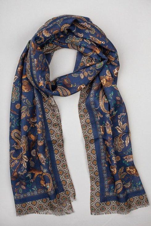 navy printed scarf muslin wool and silk
