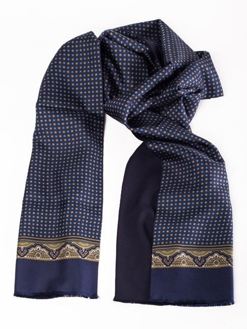 navy silk & wool scarf