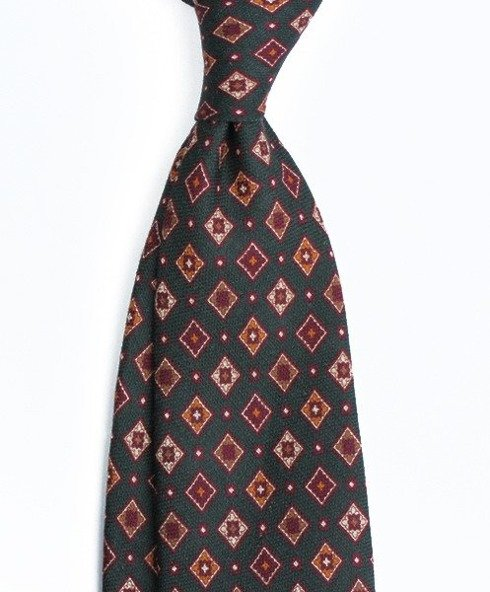 self-tipped printed linen navy TIE