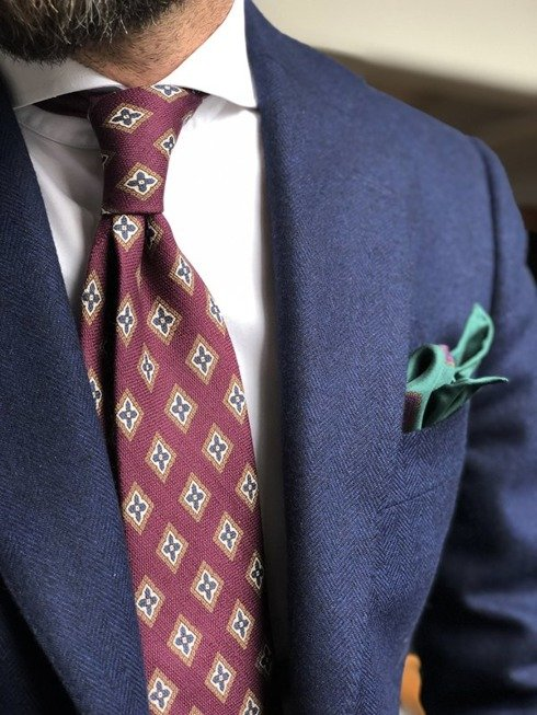 self-tipped printed linen violet TIE