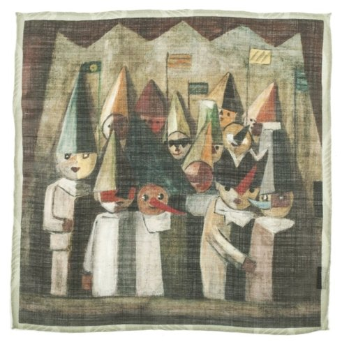 "ARTWORKS COLLECTION Tadeusz Makowski ""Children's Theatre"" Pocket square"