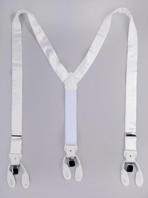 BRACES 3,5 CM CLIPS & BUTTONS WHITE SATIN SILK