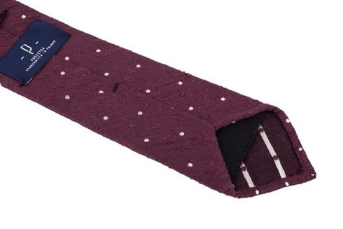 CLARET SHANTUNG TIE WITH DOTS