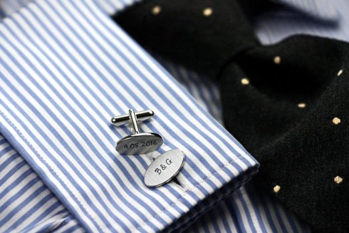 Classic Silver Personalized Cuff Links