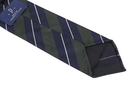 GREEN AND NAVY REGIMENTAL UNTIPPED HANDROLLED TIE