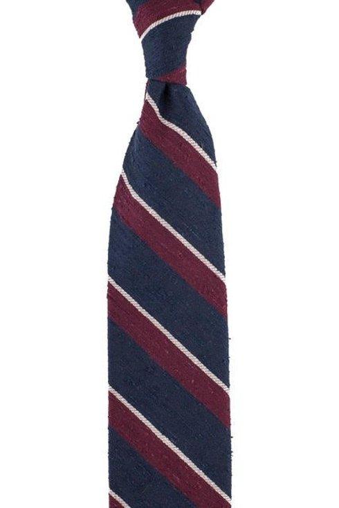 Navy blue-burgundy-gray untipped shantung tie