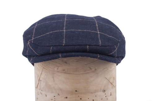 Navy blue flat cap with ear flaps Marling & Evans