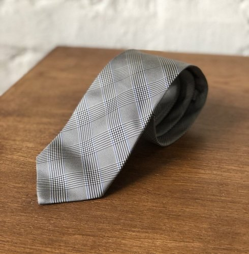 PRINCE OF WALES TIE - grey, navy, with a blue accent