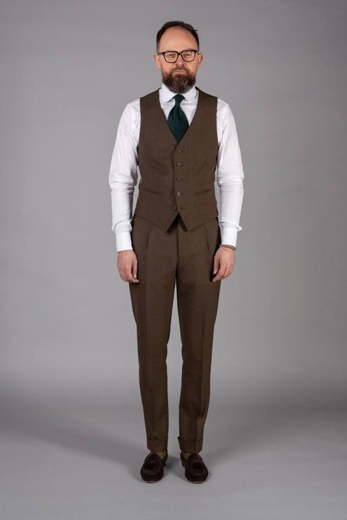 Preorder: brown check three piece suit 'Edward'