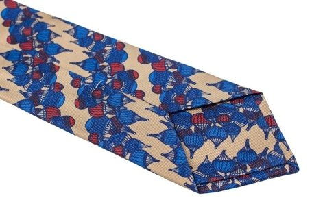 Printed silk antique gold & navy tie
