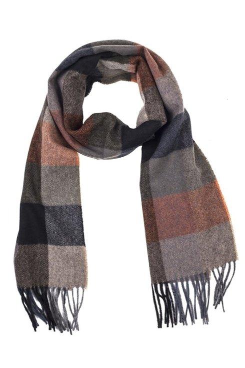 RUST & BROWN checkered woolen scarf