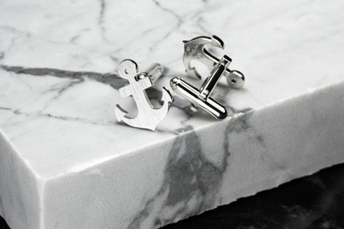 Silver Cuff Links Anchor